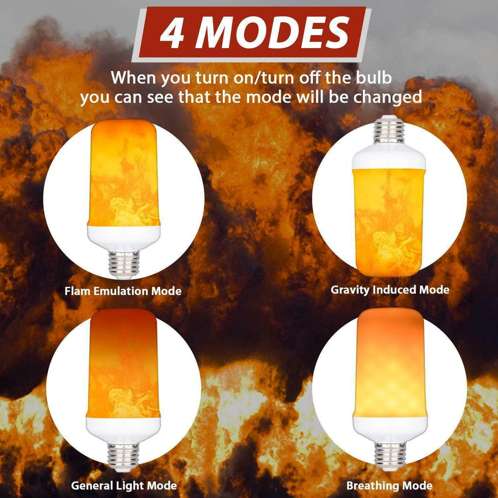 4 Modes LED Flame Effect Simulated Nature Fire Light Bulb E27