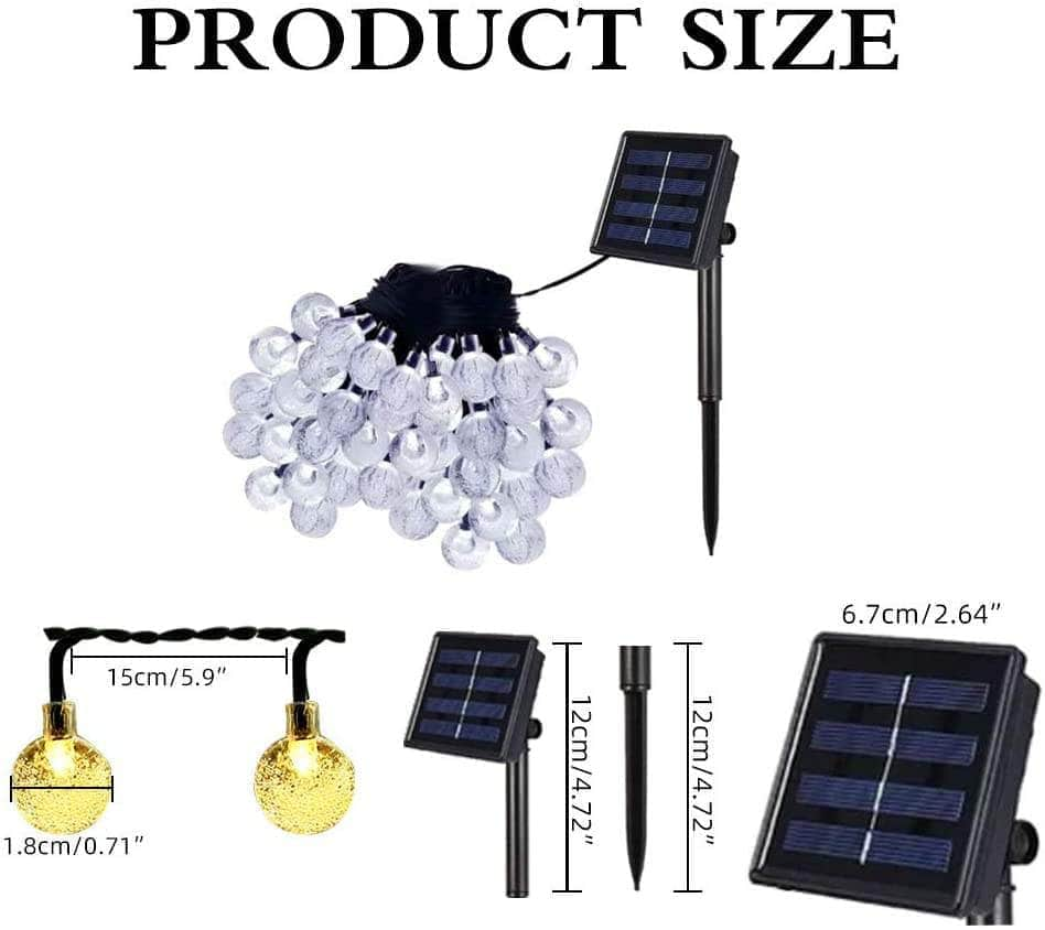 Solar Garden Lights Outdoor Waterproof, 50LED Globe Fairy Lights Multicolor