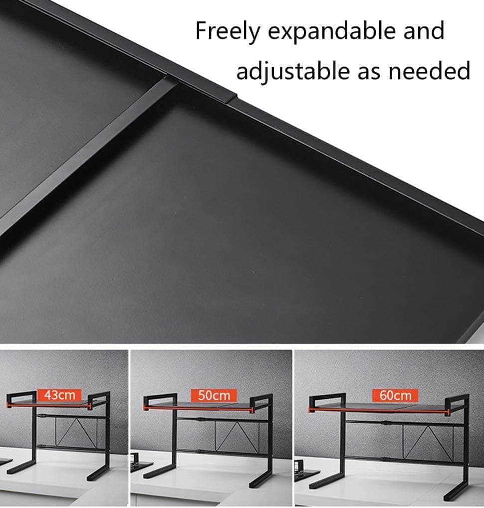 Microwave Oven Rack (Color : Black, Size : 43-60x36x32cm) with 3 hooks