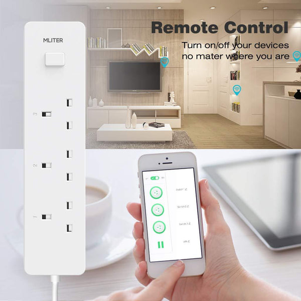 WiFi Smart Power Strip with 3 AC Individual Outlets & 2 USB Ports