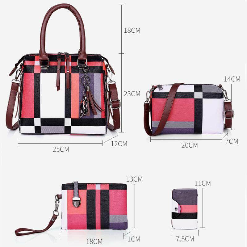 4pcs/set Luxury Handbags Plaid Women Messenger Bags