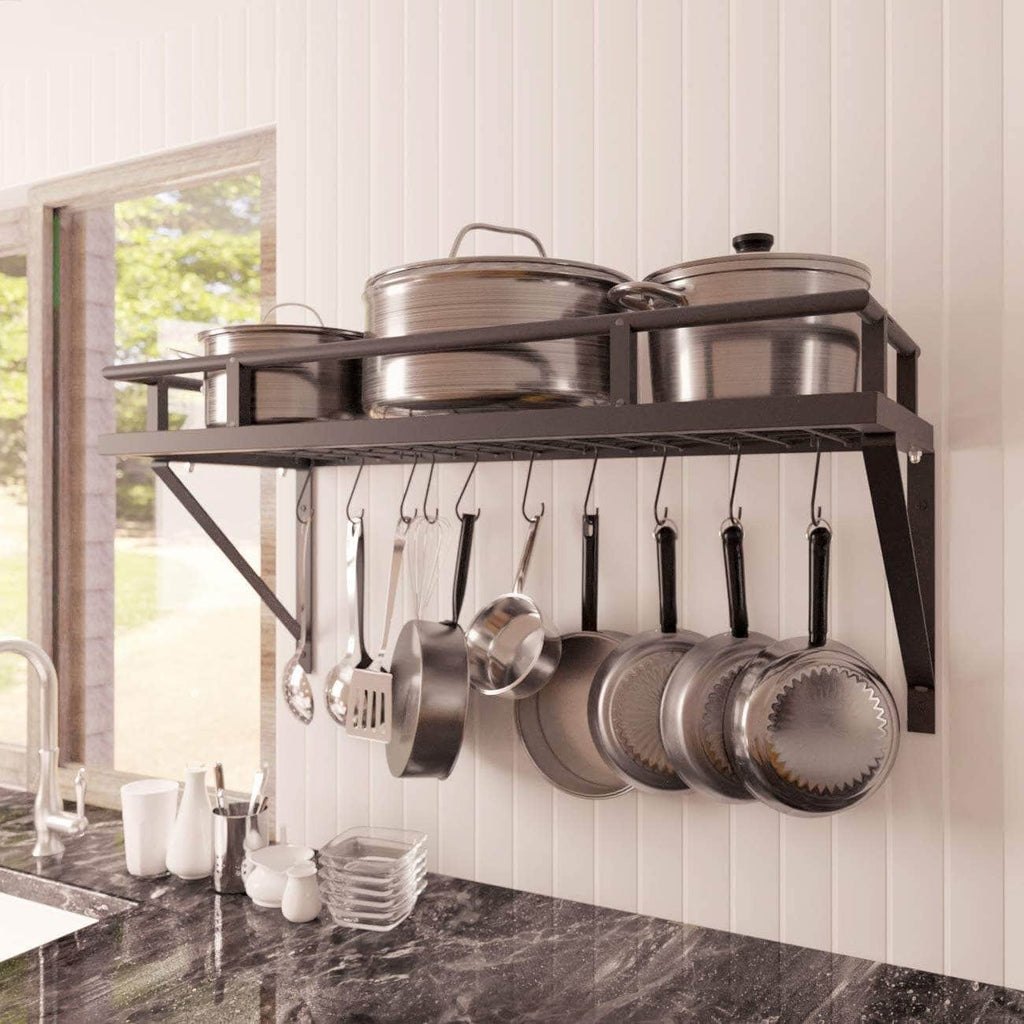 30-Inch Kitchen Pan Pot Rack Wall Mounted Hanging Storage Organizer Wall Shelf