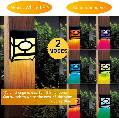 Solar Wall Lights Outdoor, 2 Modes Solar Led Waterproof Lighting Warm White/Color Changing,Pack of 4