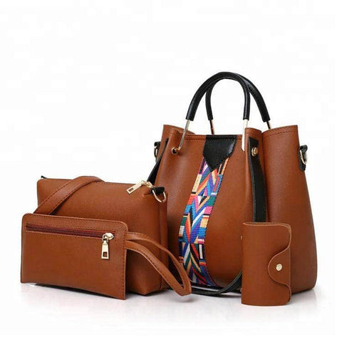 Women Fashion Shoulder PU Leather Ladies Bag Set 4 Pcs Handbag Sets