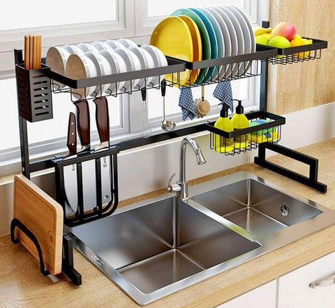 Dish Drying Rack Over Sink, Multifunctional Stainless Steel Kitchen Storage Organizer with Utensils Holder, 85 x 32 x 52 cm
