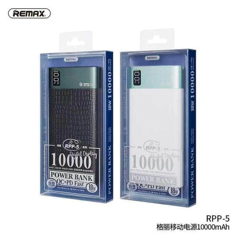 REMAX Garie Series RPP-5 10000mAh 18w 2 Ways QC + PD Fast Charge Digital Display Dual USB & Type C Output Powerbank