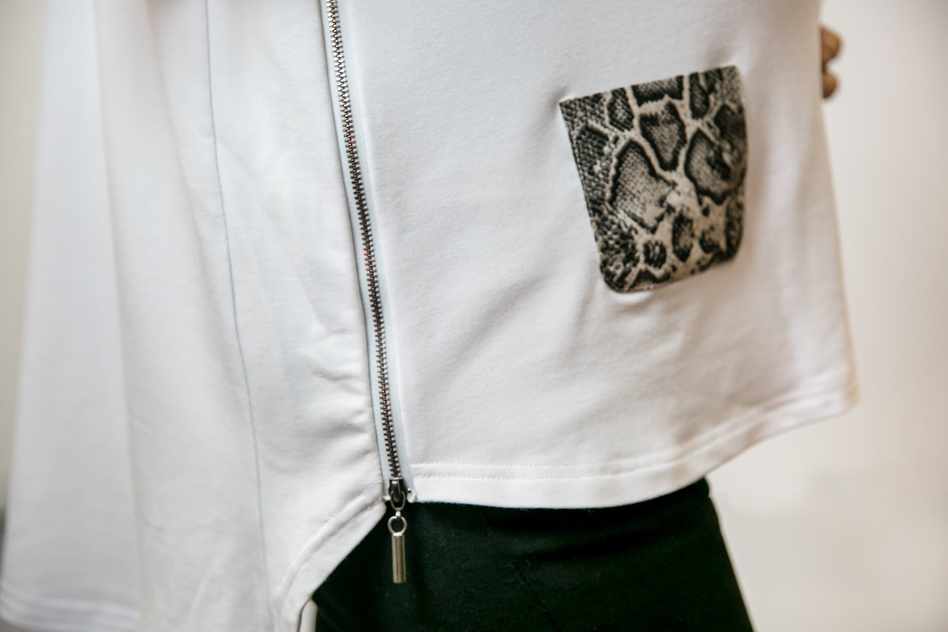 Mia Top - White & Snake Print