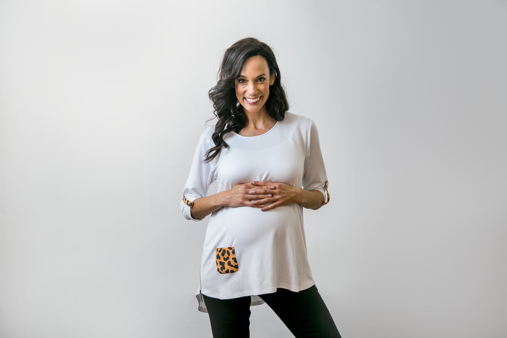 Mia Top – White & Leopard Print