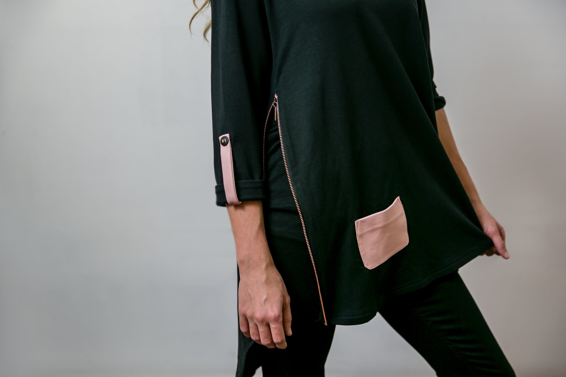 Mia Top - Black, Blush & Rose Gold
