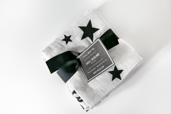 Large Muslin & 3 Pack of Muslin Squares Organic Lucky Stars Combo