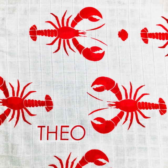Personalised Lobster Muslin Swaddle