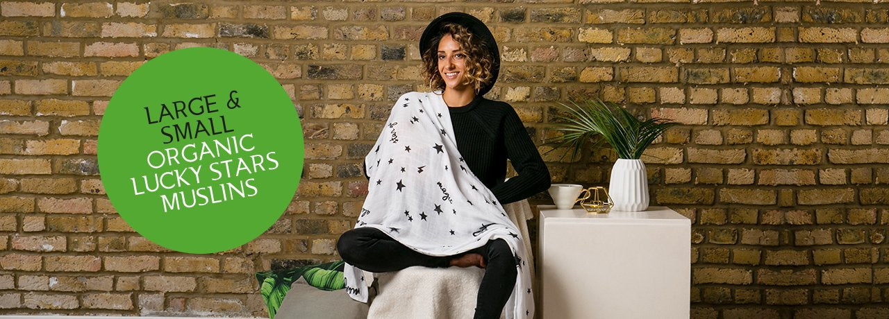 lucky stars print muslin blanket campaign shot