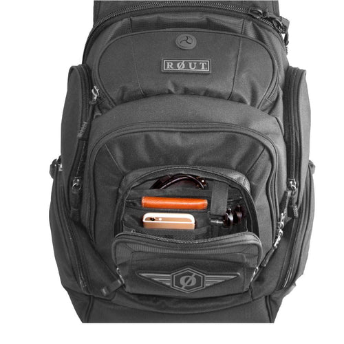 multi compartment nylon backpack
