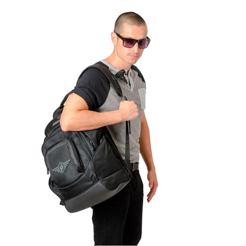 Guy wearing glasses and backpack