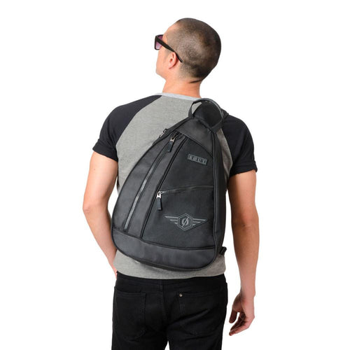 Guy wearing Black sling backpack
