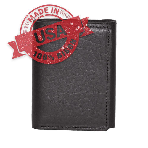 Made in USA black leather wallet