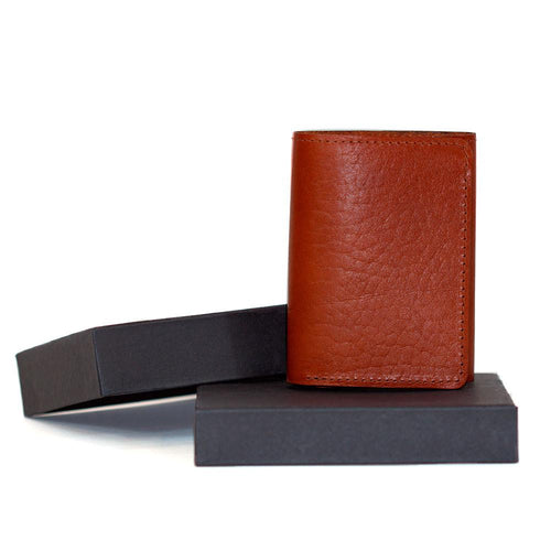 Tan Trifold Leather Wallet with gift box