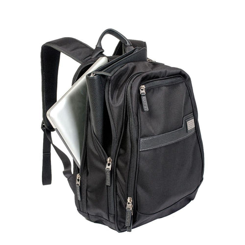 Black ballistic backpack with side pocket