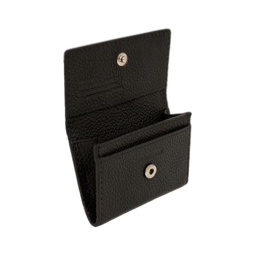 Black leather card holder with snap