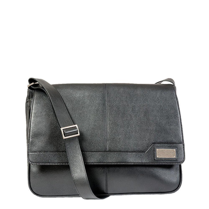 Black leather messenger bag with strap