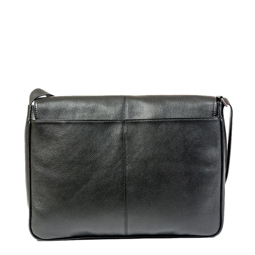 Leather messenger bag with back pocket