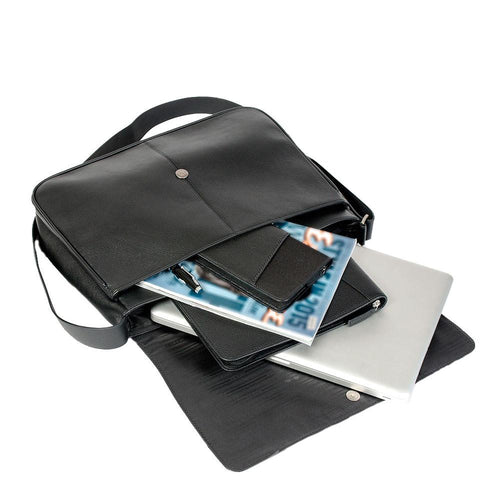 Black leather messenger bag with documents