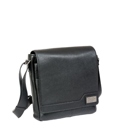 Black leather bag with metal plate