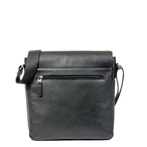 Black Messenger bag with back pocket