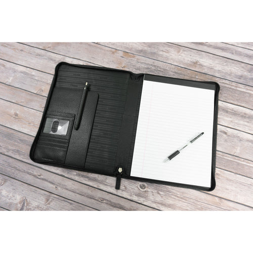 Black ballistic zip around writing pad padfolio