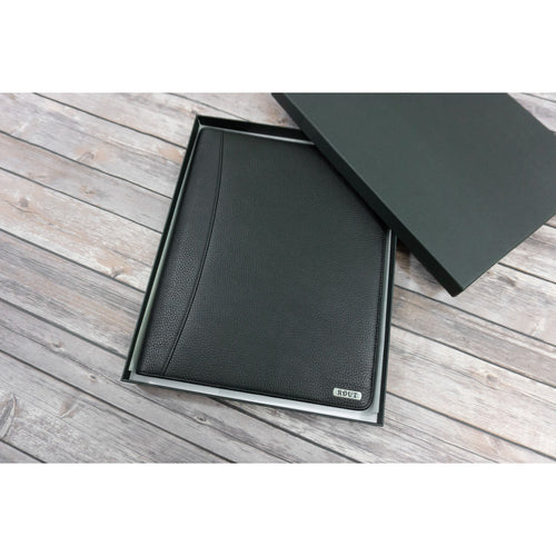Black leather writing pad padfolio