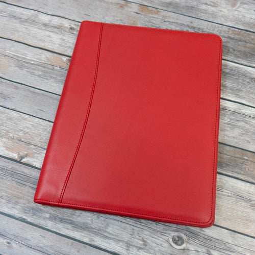 Red leather writing pad padfolio