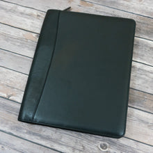 Load image into Gallery viewer, Black leather zip around writing pad padfolio