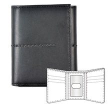 Load image into Gallery viewer, Black leather wallet with stitching