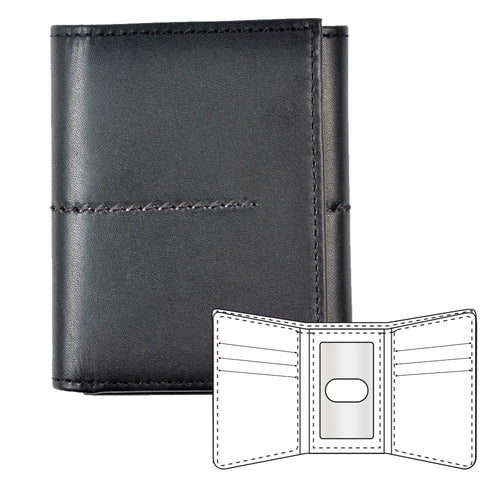 Black leather wallet with stitching