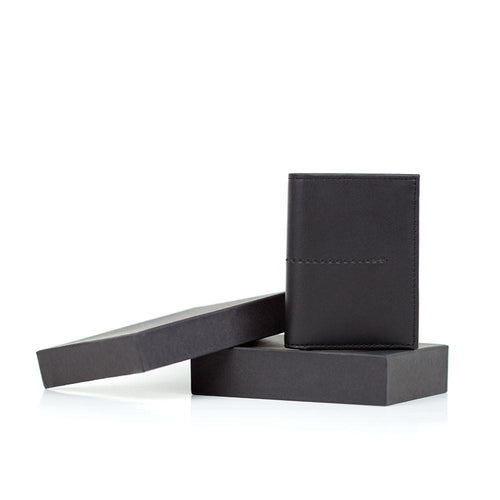Black leather wallet with gift box