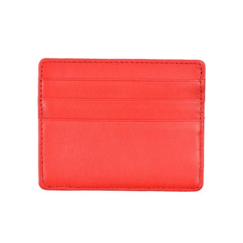 Red slim leather wallet