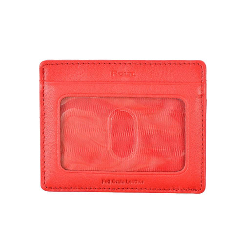 Red slim leather wallet with ID pocket