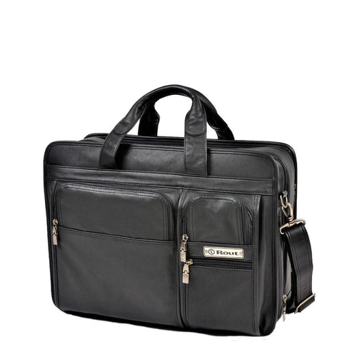 leather briefcase with multiple pockets