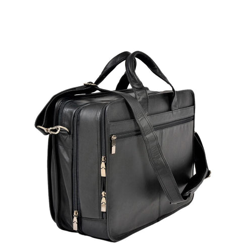Black leather briefcase with back zip pocket