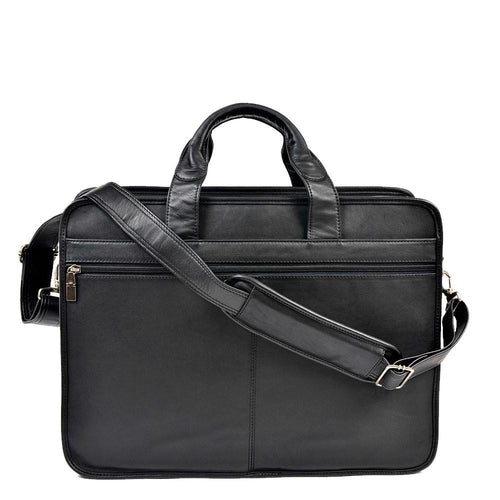 Leather briefcase with leather strap