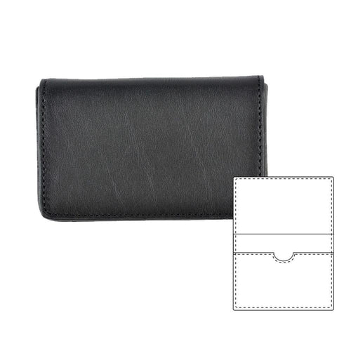 Black front view of card case wallet