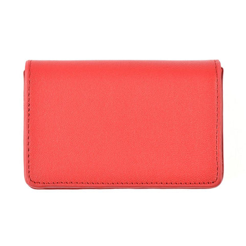 Red leather card case