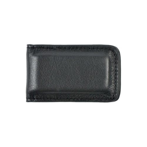 Black leather magnetic money clip