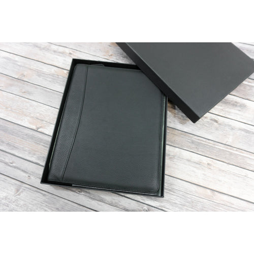 Black leather zip around writing pad padfolio