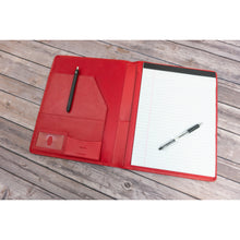 Load image into Gallery viewer, Red Leather Padfolio Writing Pad