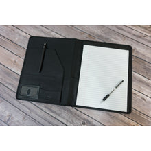 Load image into Gallery viewer, Black leather writing pad padfolio