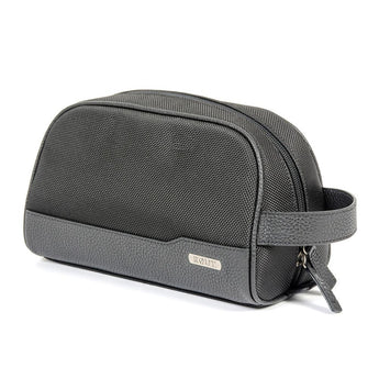 Black toiletry bag with leather trim