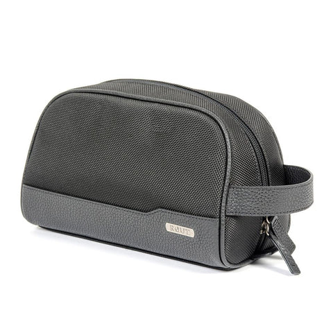 Black compact toiletry bag with leather trim
