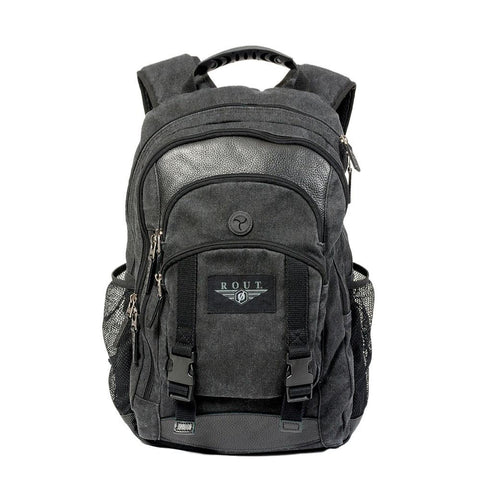 Black cotton backpack with leather trim