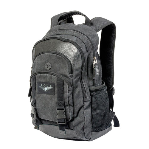 Black backpack with multiple pockets